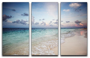 sunset on the sea beach 3 Split Panel Canvas Print - Canvas Art Rocks - 1
