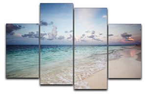 sunset on the sea beach 4 Split Panel Canvas - Canvas Art Rocks - 1
