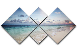 sunset on the sea beach 4 Square Multi Panel Canvas - Canvas Art Rocks - 1