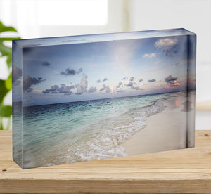 sunset on the sea beach Acrylic Block - Canvas Art Rocks - 2