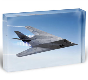 tealth aircraft streaking through the sky Acrylic Block - Canvas Art Rocks - 1