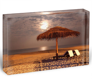 the sunset beach landscape Acrylic Block - Canvas Art Rocks - 1