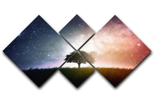 tree in a field with beautiful space background 4 Square Multi Panel Canvas  - Canvas Art Rocks - 1