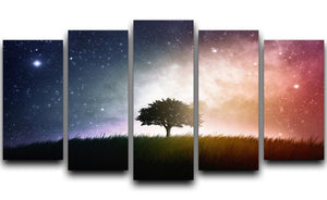 tree in a field with beautiful space background 5 Split Panel Canvas  - Canvas Art Rocks - 1