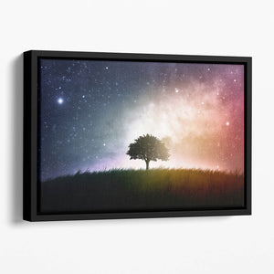 tree in a field with beautiful space background Floating Framed Canvas