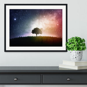 tree in a field with beautiful space background Framed Print - Canvas Art Rocks - 1