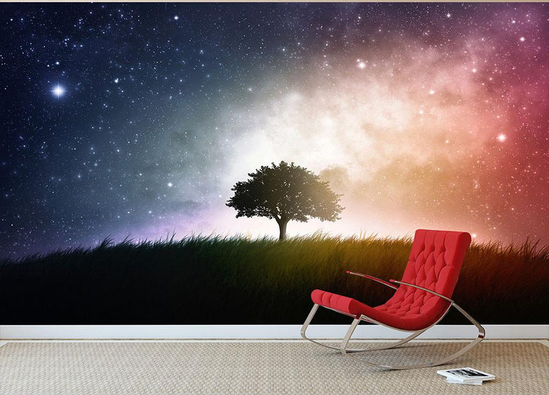 tree in a field with beautiful space background Wall Mural Wallpaper - Canvas Art Rocks - 1