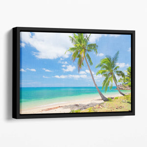 tropical beach with coconut palm Floating Framed Canvas
