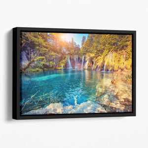 turquoise water and sunny beams Floating Framed Canvas