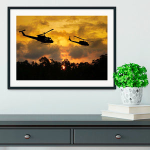 two helicopters flying over South Vietnam Framed Print - Canvas Art Rocks - 1