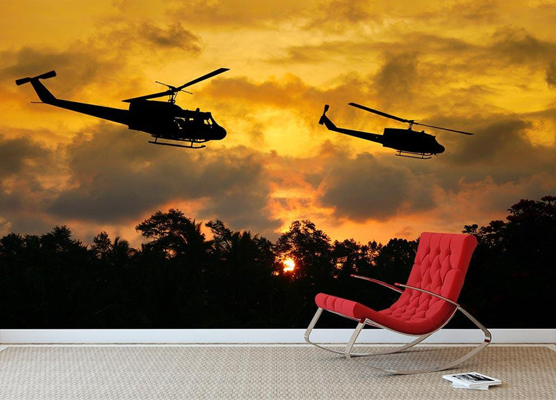 two helicopters flying over South Vietnam Wall Mural Wallpaper - Canvas Art Rocks - 1