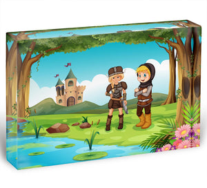 two worriors standing in forest Acrylic Block - Canvas Art Rocks - 1