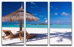 umbrella on a beach with shadow 3 Split Panel Canvas Print - Canvas Art Rocks - 1