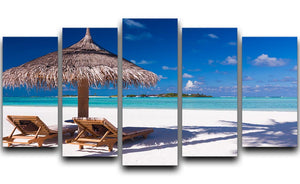 umbrella on a beach with shadow 5 Split Panel Canvas - Canvas Art Rocks - 1
