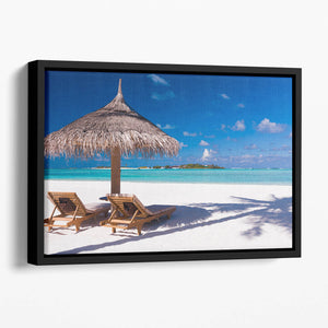 umbrella on a beach with shadow Floating Framed Canvas