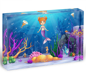 underwater world with a funny fish and a mermaid Acrylic Block - Canvas Art Rocks - 1