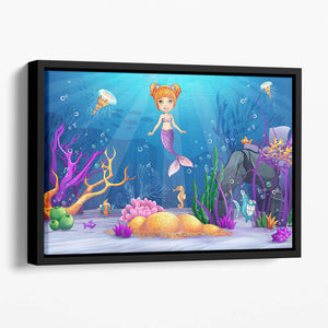 underwater world with a funny fish and a mermaid Floating Framed Canvas