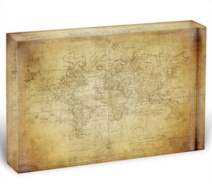 vintage map of the world 1778 Acrylic Block - Canvas Art Rocks - 1