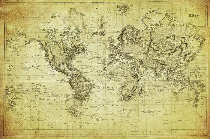 vintage map of the world 1831 Wall Mural Wallpaper