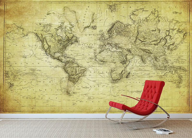 vintage map of the world 1831 Wall Mural Wallpaper - Canvas Art Rocks - 1
