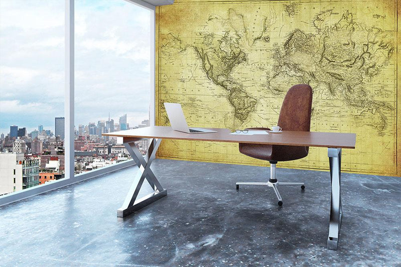 vintage map of the world 1831 Wall Mural Wallpaper - Canvas Art Rocks - 3