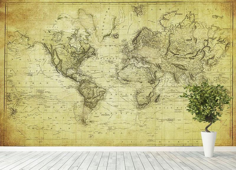 vintage map of the world 1831 Wall Mural Wallpaper - Canvas Art Rocks - 4