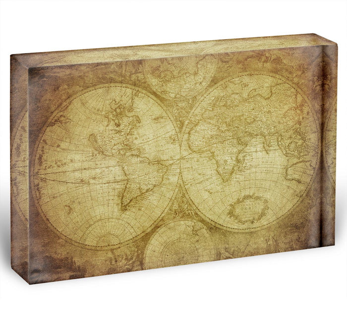 vintage map of the world Acrylic Block