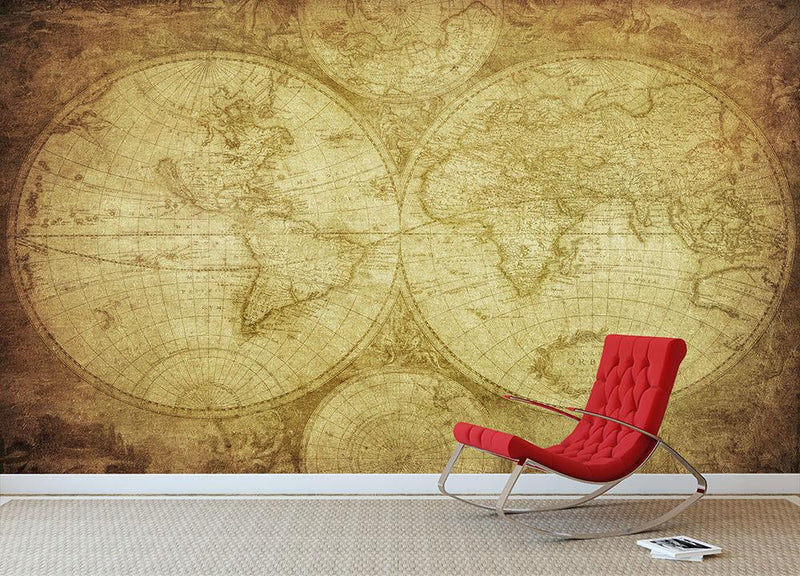 vintage map of the world Wall Mural Wallpaper - Canvas Art Rocks - 1