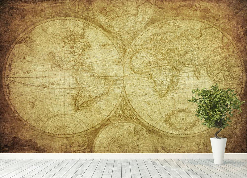 vintage map of the world Wall Mural Wallpaper - Canvas Art Rocks - 4