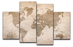 vintage paper with world map 4 Split Panel Canvas  - Canvas Art Rocks - 1