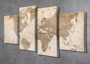 vintage paper with world map 4 Split Panel Canvas  - Canvas Art Rocks - 2