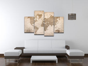 vintage paper with world map 4 Split Panel Canvas  - Canvas Art Rocks - 3