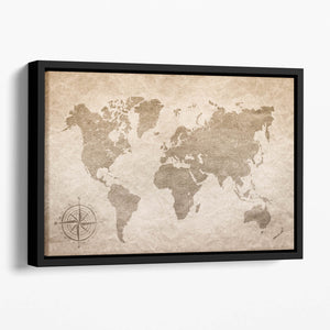vintage paper with world map Floating Framed Canvas