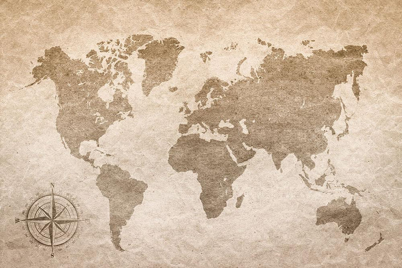 vintage paper with world map Wall Mural Wallpaper - Canvas Art Rocks - 1
