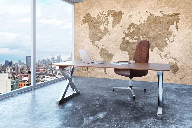vintage paper with world map Wall Mural Wallpaper - Canvas Art Rocks - 3