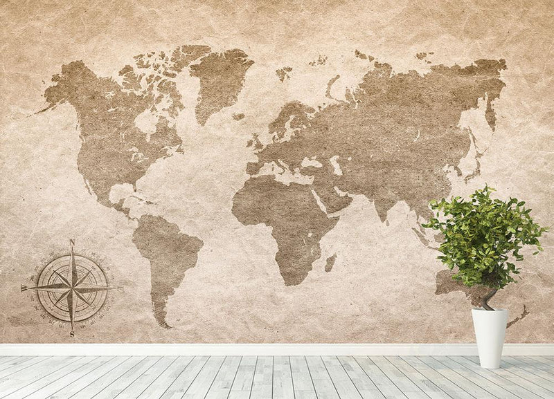 vintage paper with world map Wall Mural Wallpaper - Canvas Art Rocks - 4