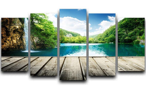 waterfall in deep forest of croatia 5 Split Panel Canvas  - Canvas Art Rocks - 1