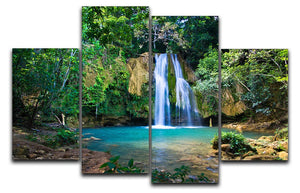 waterfall in deep green forest 4 Split Panel Canvas - Canvas Art Rocks - 1