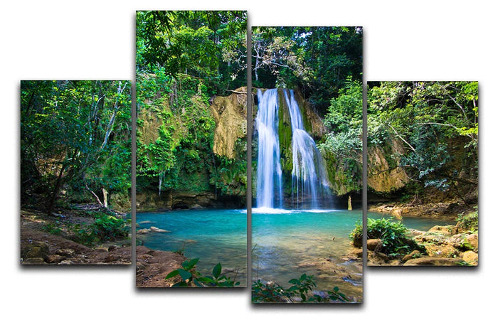 waterfall in deep green forest 4 Split Panel Canvas