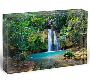 waterfall in deep green forest Acrylic Block - Canvas Art Rocks - 1
