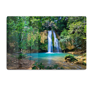 waterfall in deep green forest HD Metal Print - Canvas Art Rocks - 1