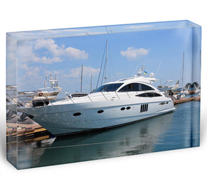 white yacht in marina Acrylic Block - Canvas Art Rocks - 1