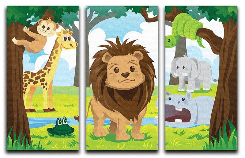 wild jungle animals in the animal kingdom 3 Split Panel Canvas Print - Canvas Art Rocks - 1