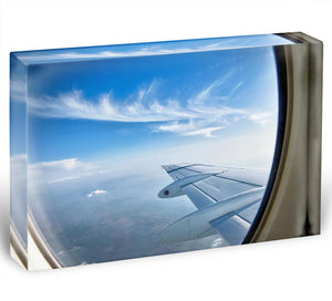 window aircraft during flight Acrylic Block - Canvas Art Rocks - 1