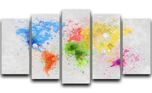world map painting 5 Split Panel Canvas  - Canvas Art Rocks - 1
