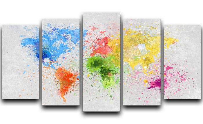 world map painting 5 Split Panel Canvas