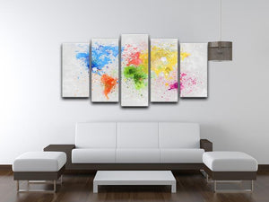 world map painting 5 Split Panel Canvas  - Canvas Art Rocks - 3