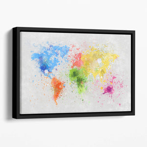 world map painting Floating Framed Canvas