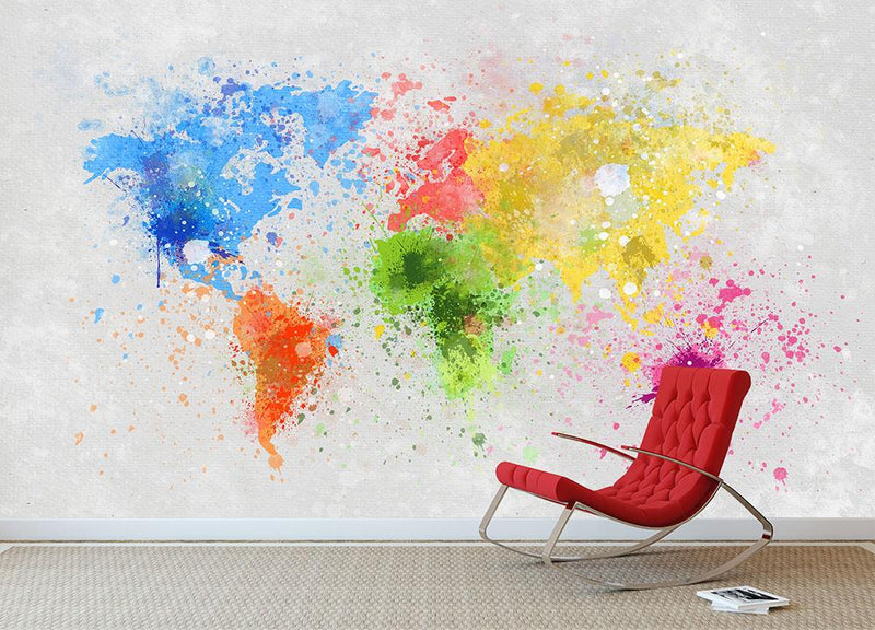 world map painting Wall Mural Wallpaper - Canvas Art Rocks - 1