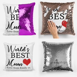 Personalised World's Best Sequin Magic Cushion
